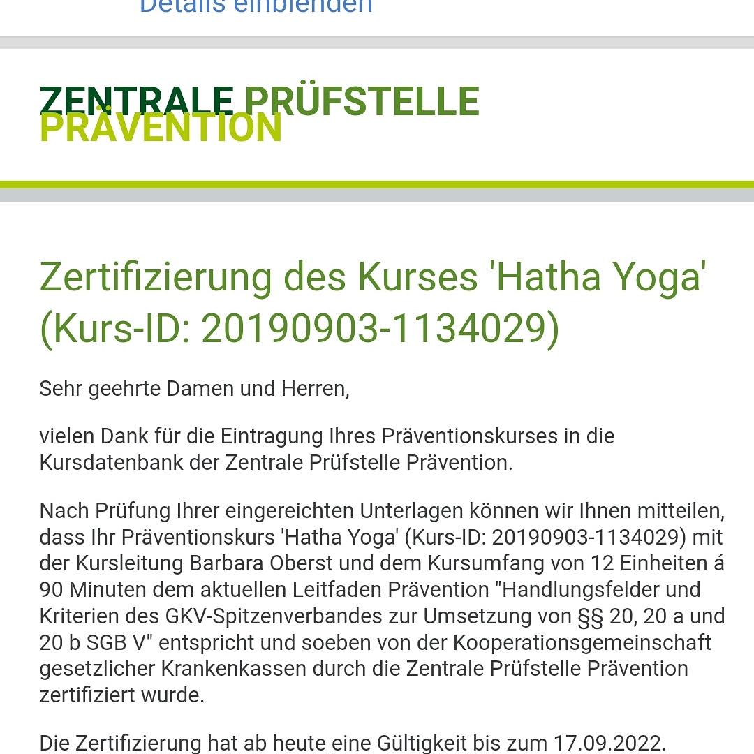 Zertifizierung des Kurses Hatha-Yoga von Barbara Oberst